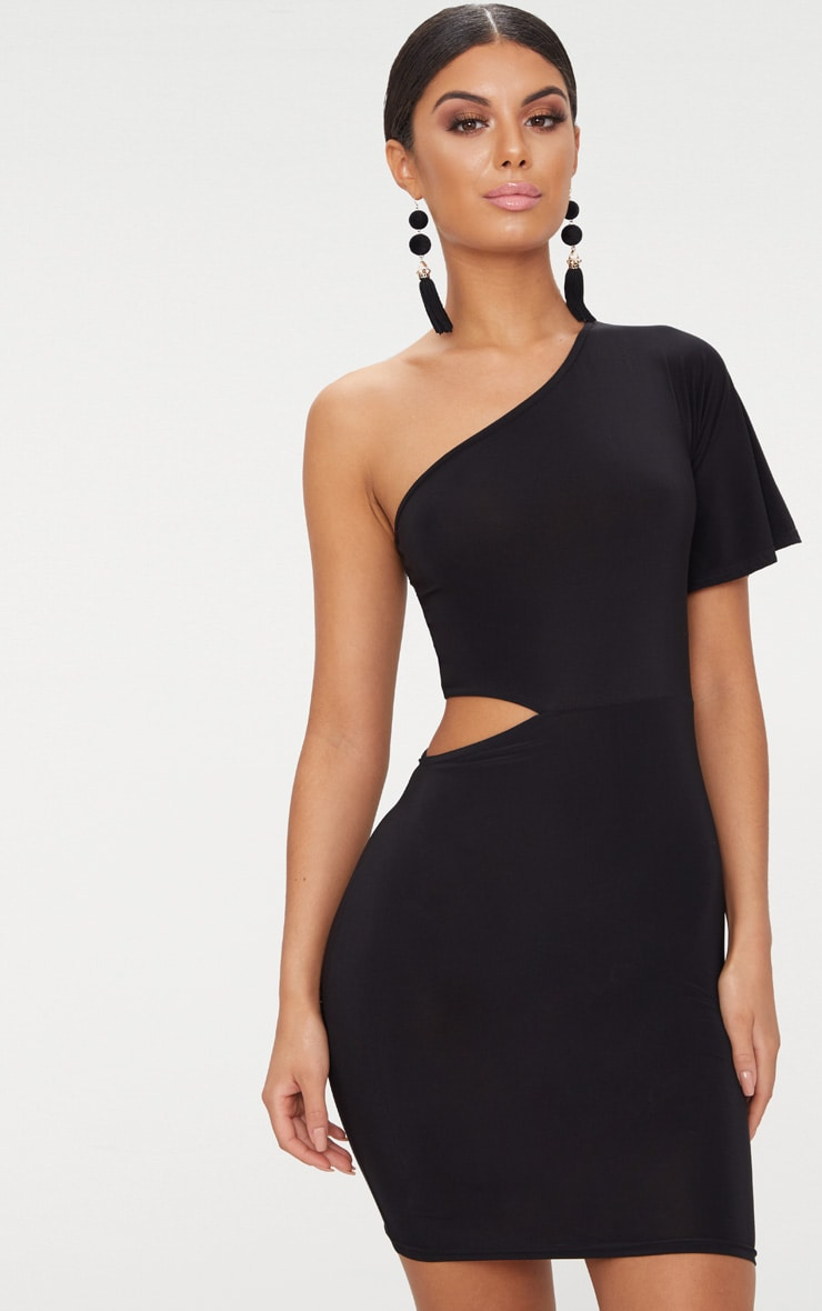 Black One Shoulder Cut Out Side Bodycon Dress