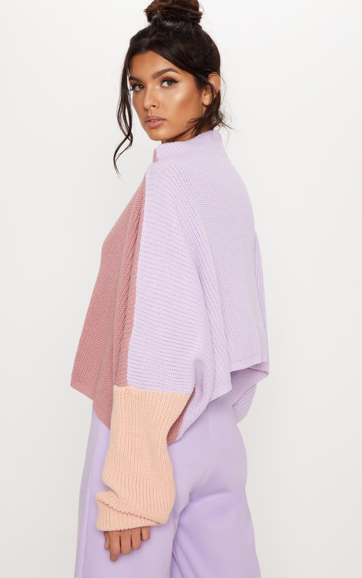 Pink Oversized Colour Block Sweater 2