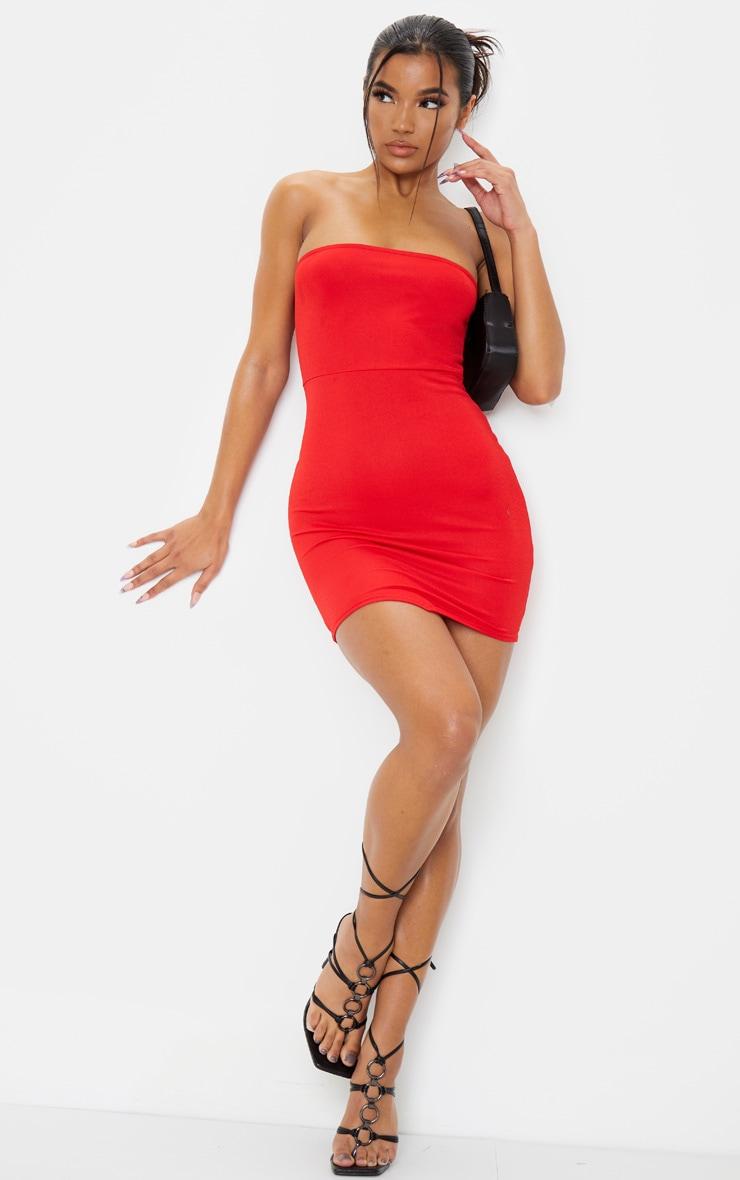 Red Pointy Hem Bandeau Bodycon Dress 3