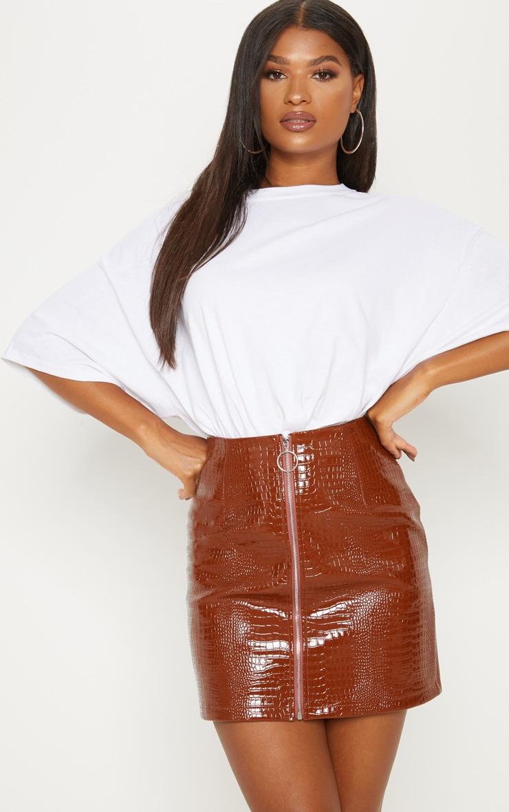 Brown Croc Effect Mini Skirt 1
