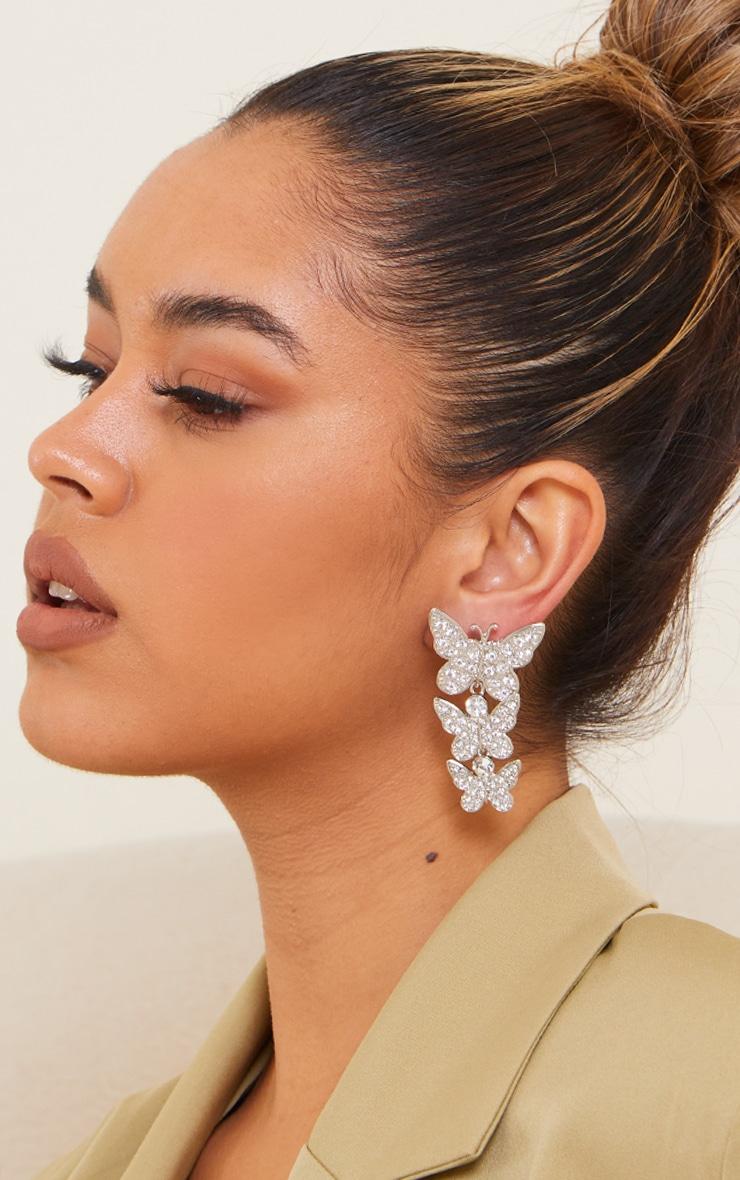 Silver Diamante Drop Butterfly Earrings 1
