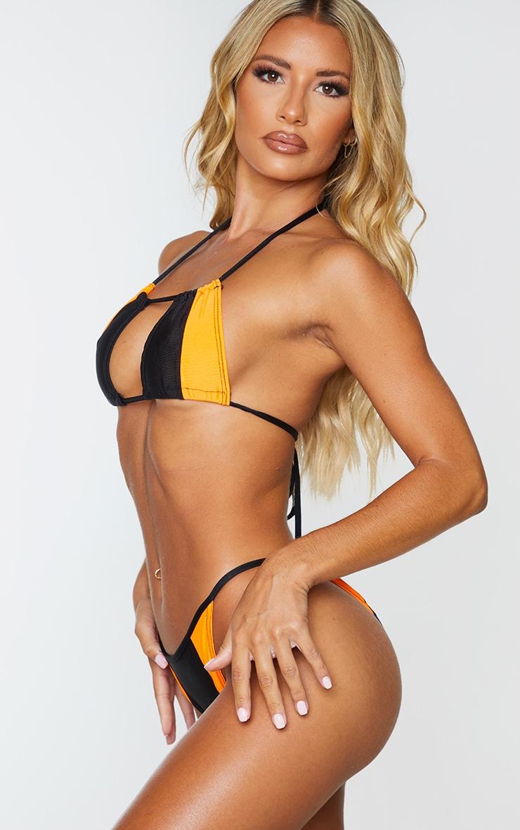 Black Contrast Tanga Bikini Bottom 2