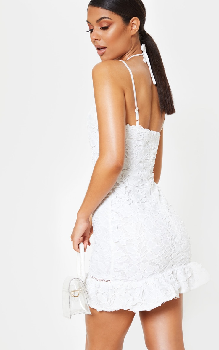White Strappy Lace Tie Front Bodycon Dress 2