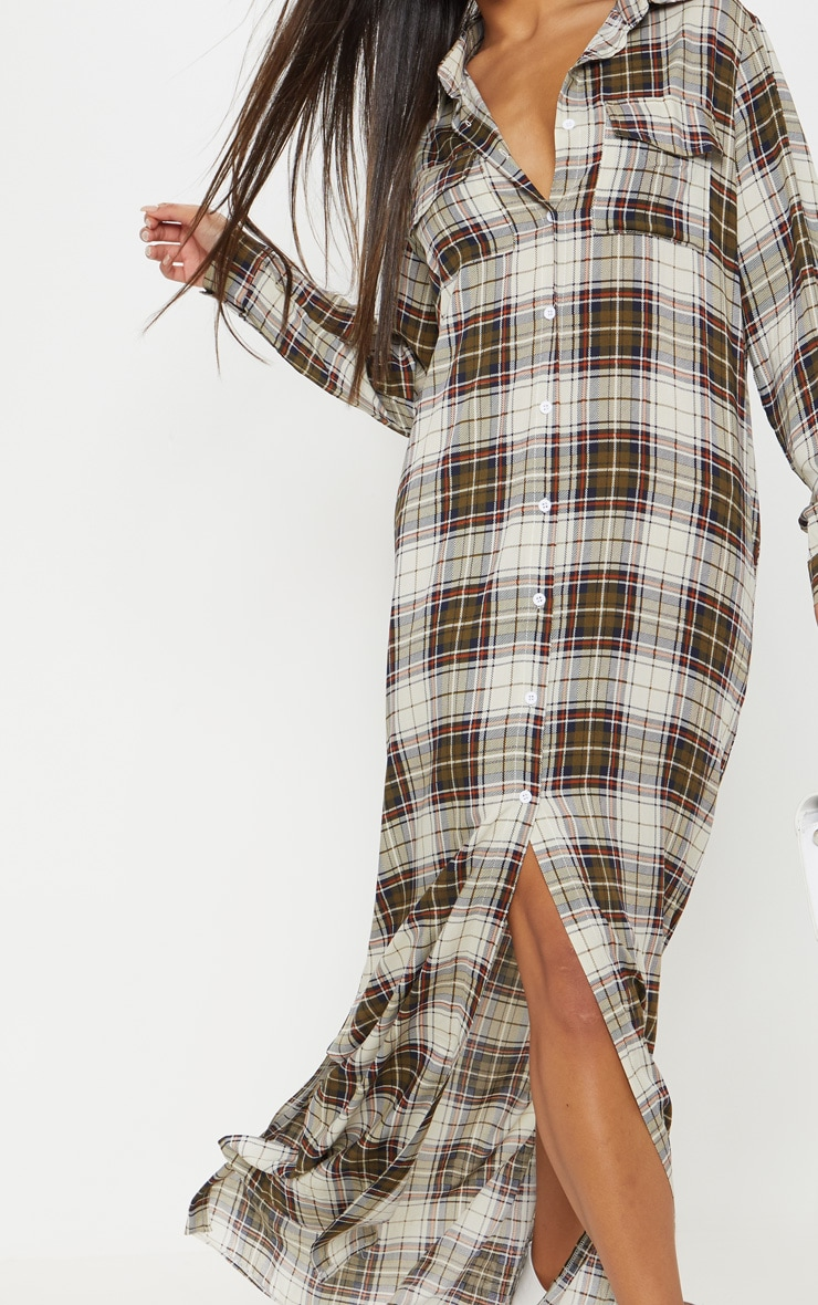 Khaki Check Print Oversized Maxi Shirt Dress 5