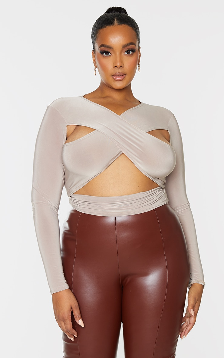 Plus Stone Cross Front Cut Out Long Sleeve Top 3