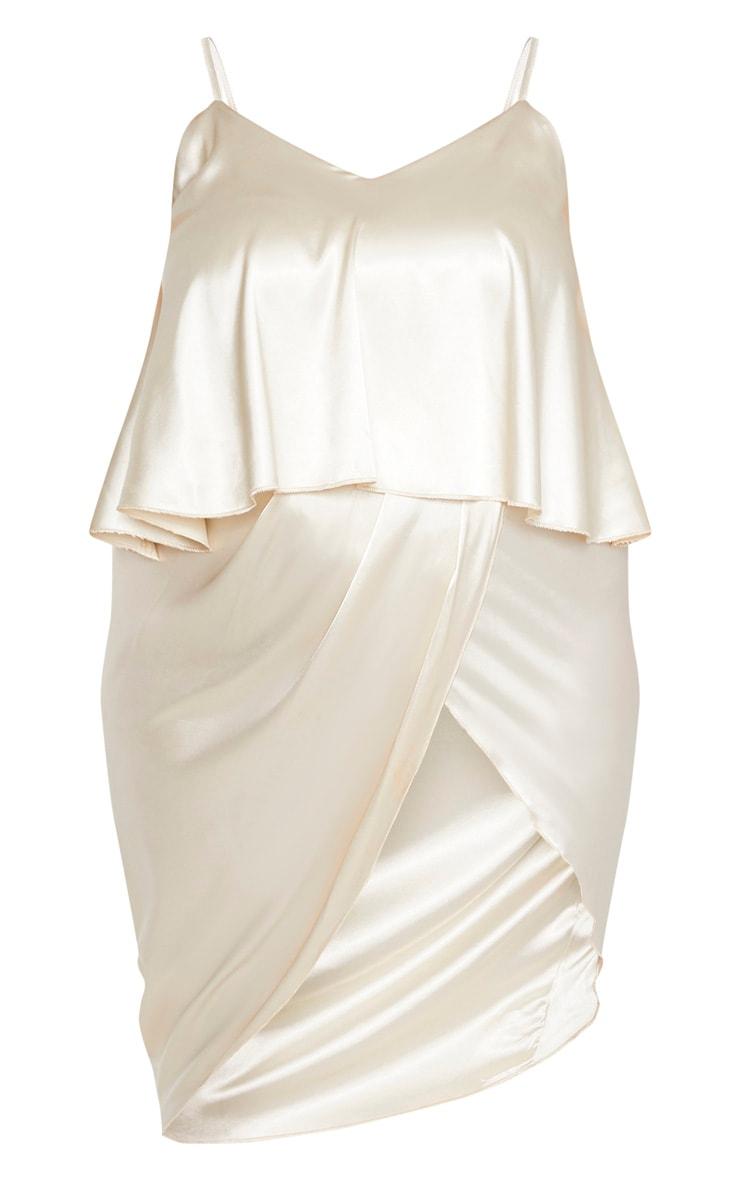 Plus Champagne Satin Frill Detail Midi Dress 3