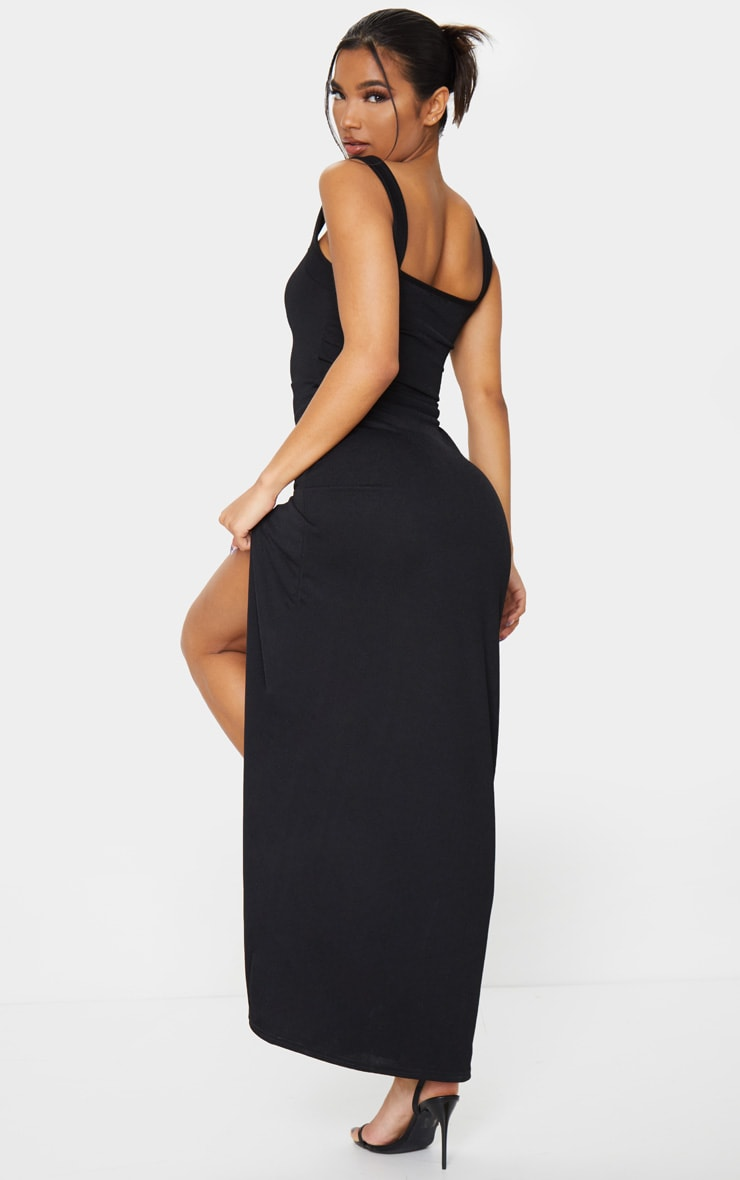 Black Straight Neck Maxi Dress 2