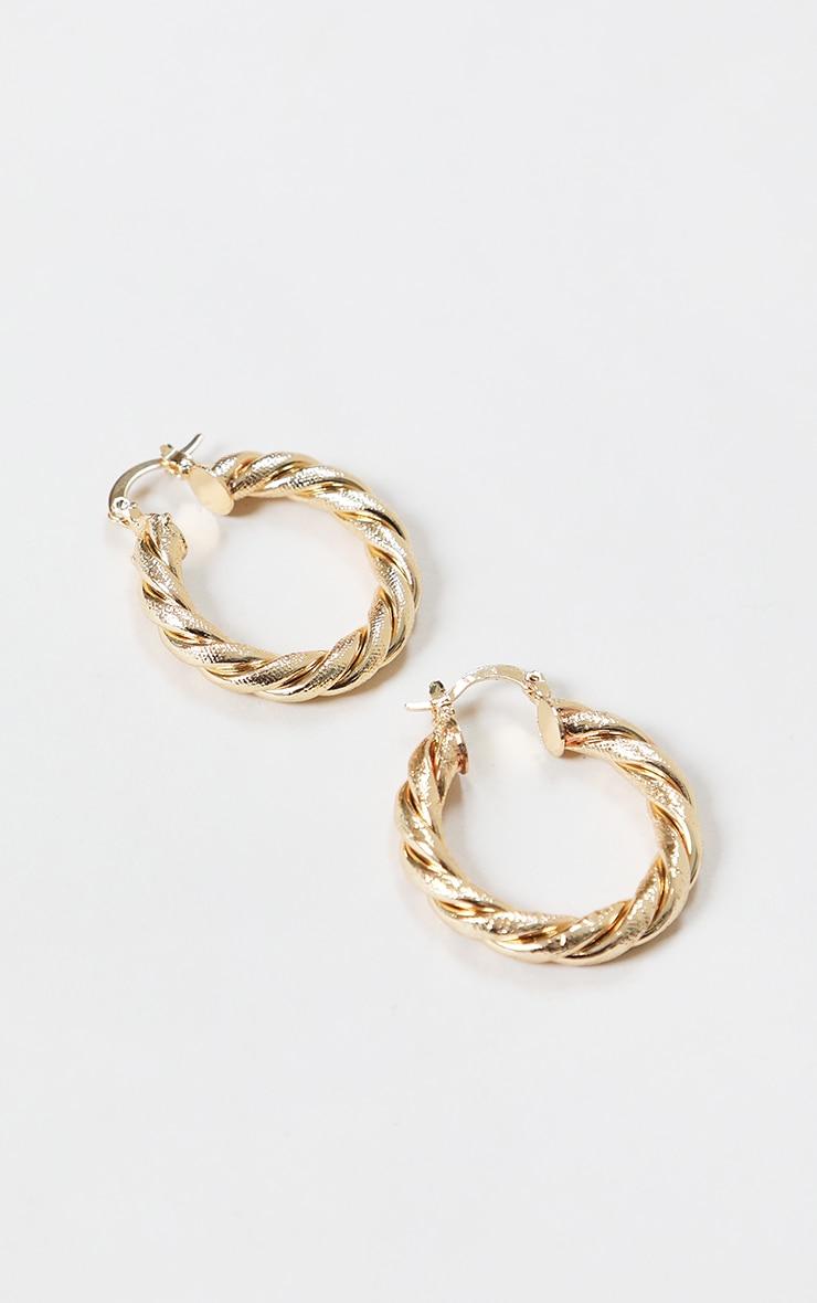 Gold Rope Twist Hoop Earrings 2