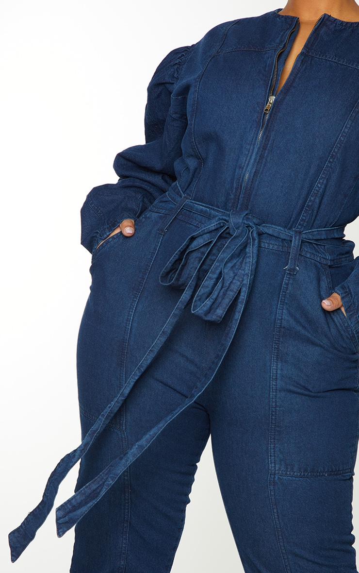 Plus Indigo Zip Detail Belted Denim Jumpsuit 4