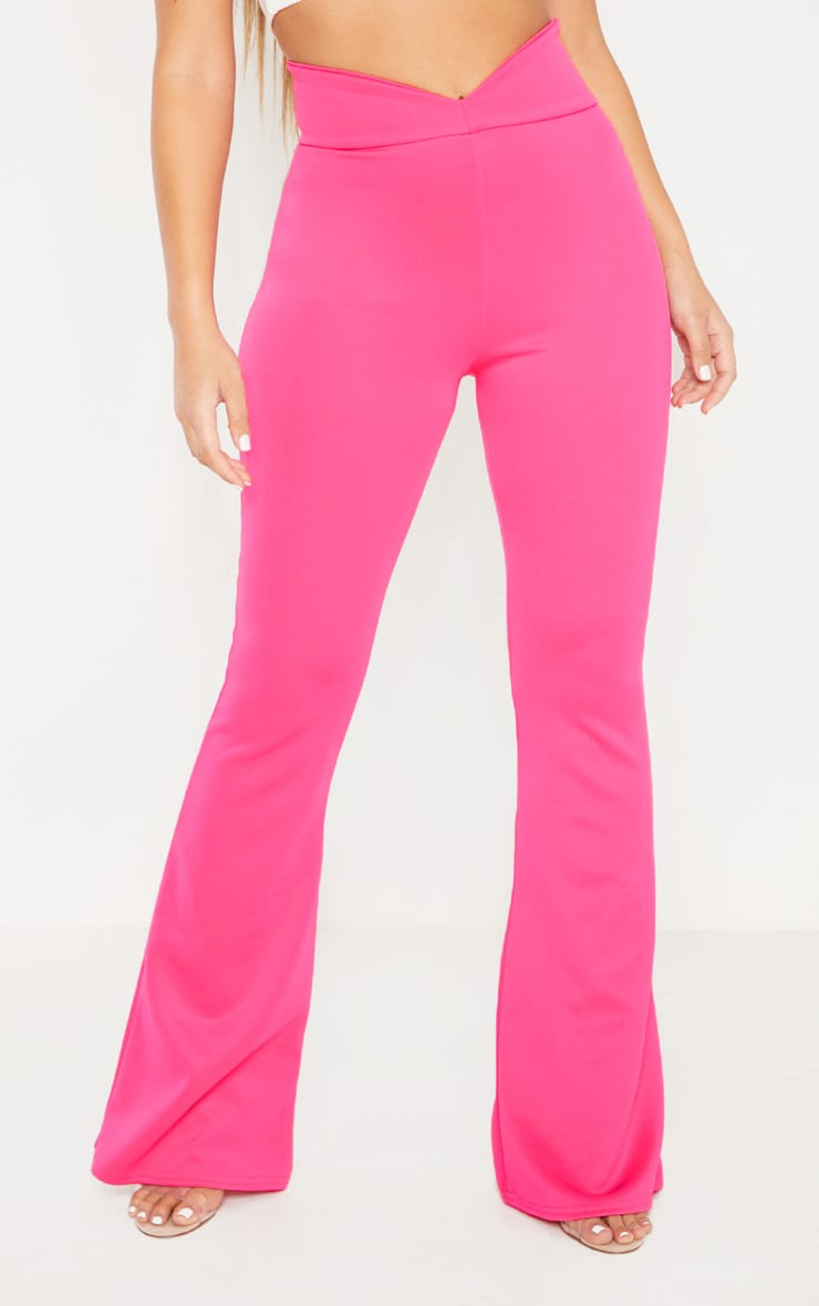 Pink Curve Waist Band Detail Flared Pants 2