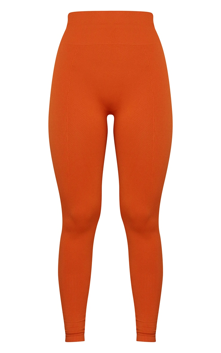 Burnt Orange Textured Seamless High Waist Gym Leggings 5
