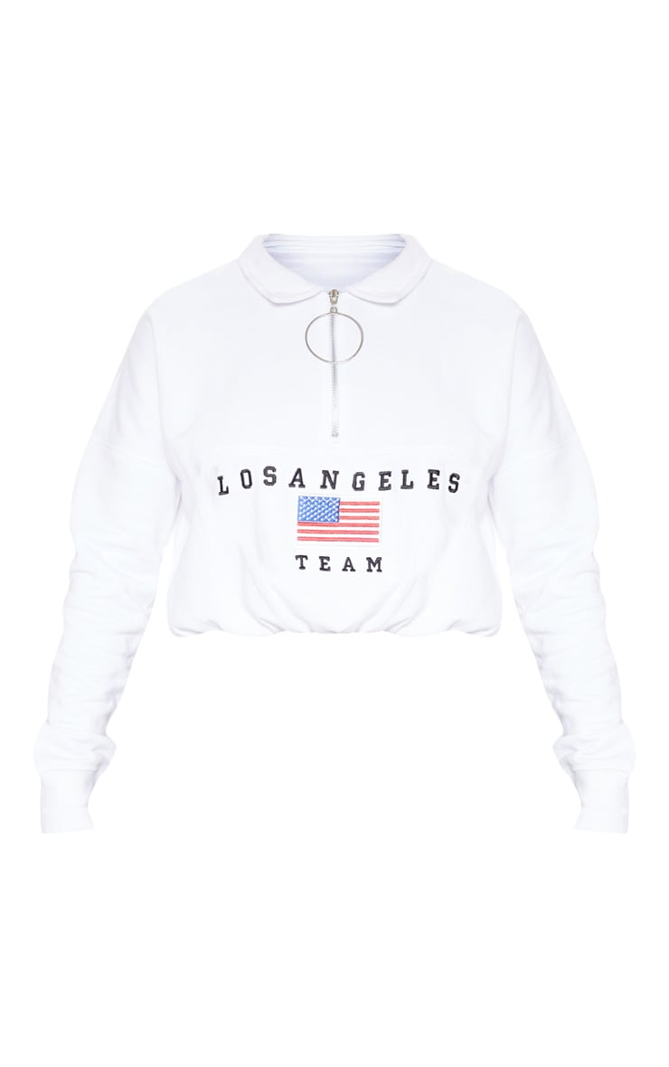 White Los Angeles Embroidered USA Zip Sweater 3