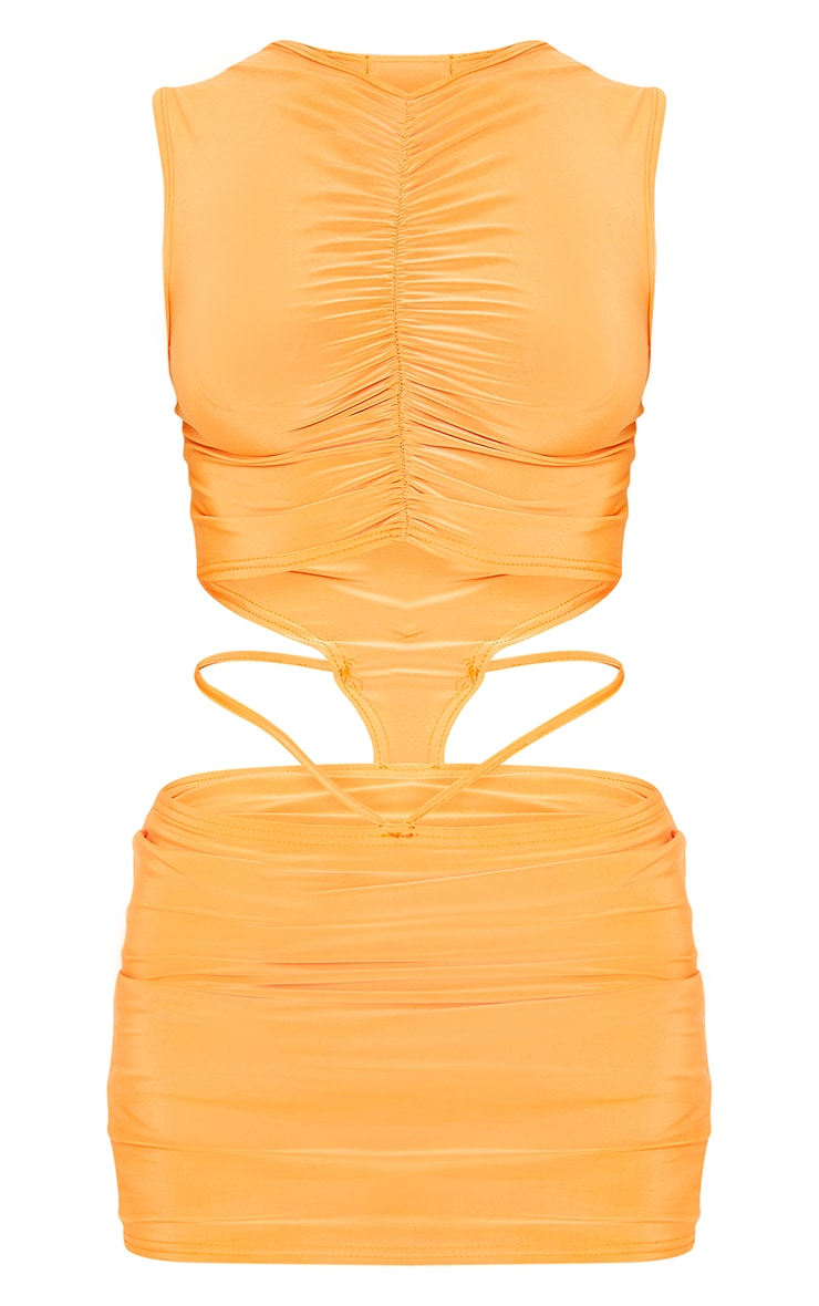 Orange Slinky Ruched Bodice Cut Out Sleeveless Bodycon Dress 5