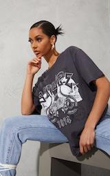 Charcoal Savage Slogan Rock T Shirt  1