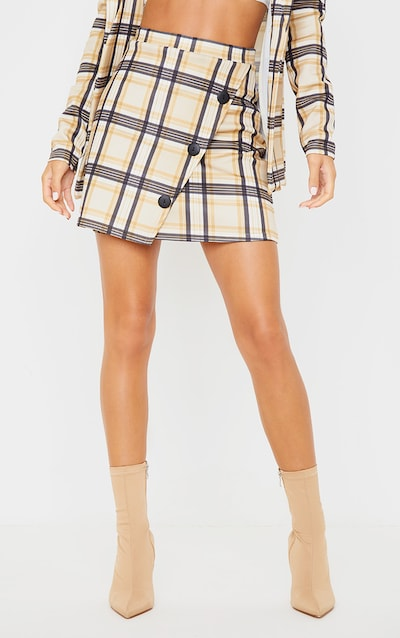 Brown Checked Button Skirt