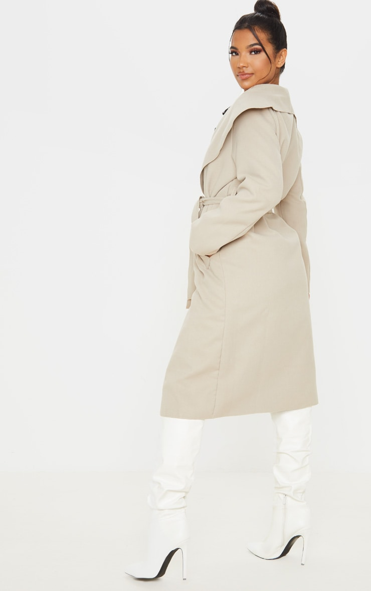 Veronica Beige Oversized Waterfall Belt Coat 2
