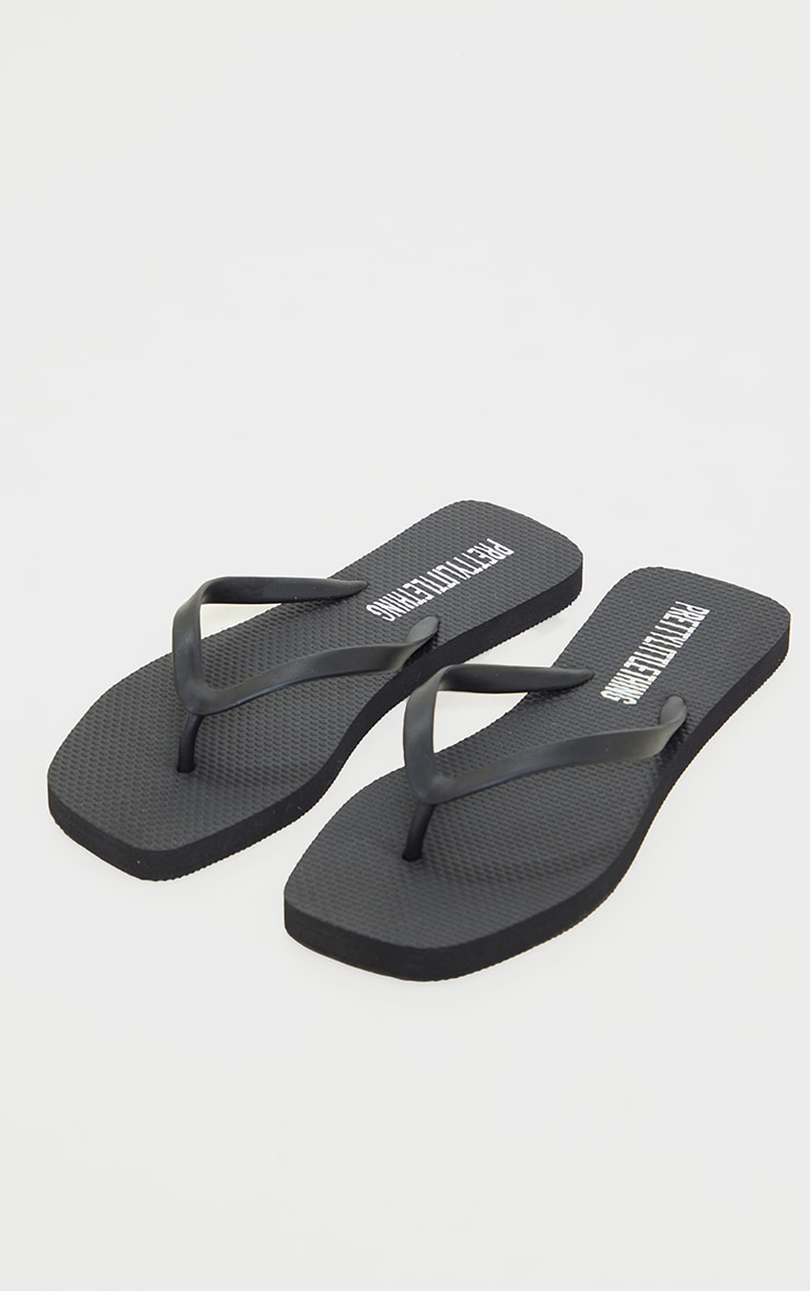Black Square Toe Flip Flop 3