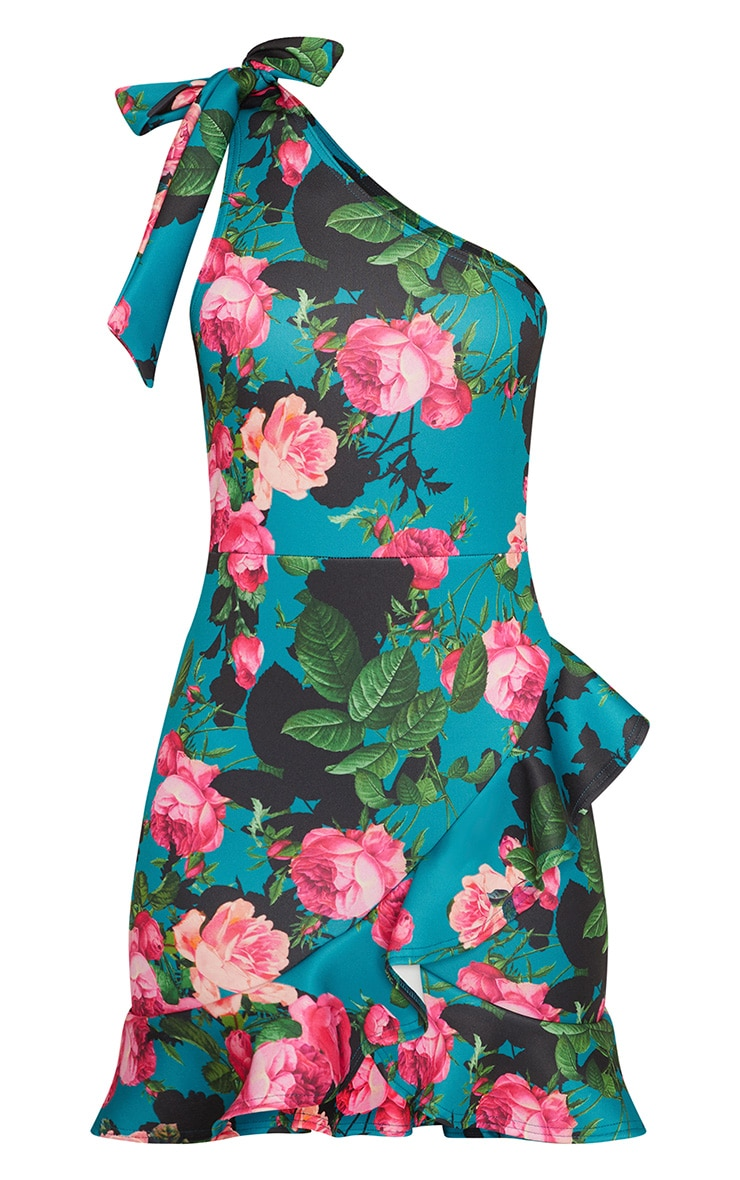 Teal Floral Tie Neck One Shoulder Frill Hem Bodycon Dress 3