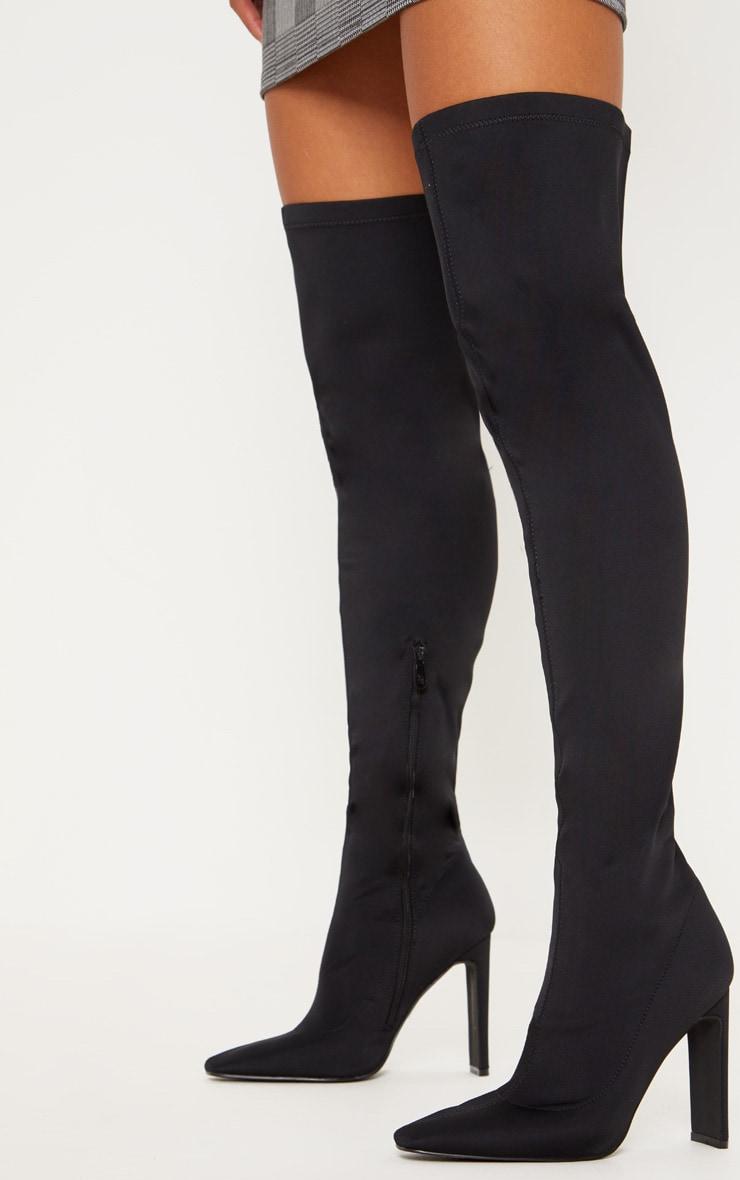 Black Over The Knee Flat Heel Sock Boot  2