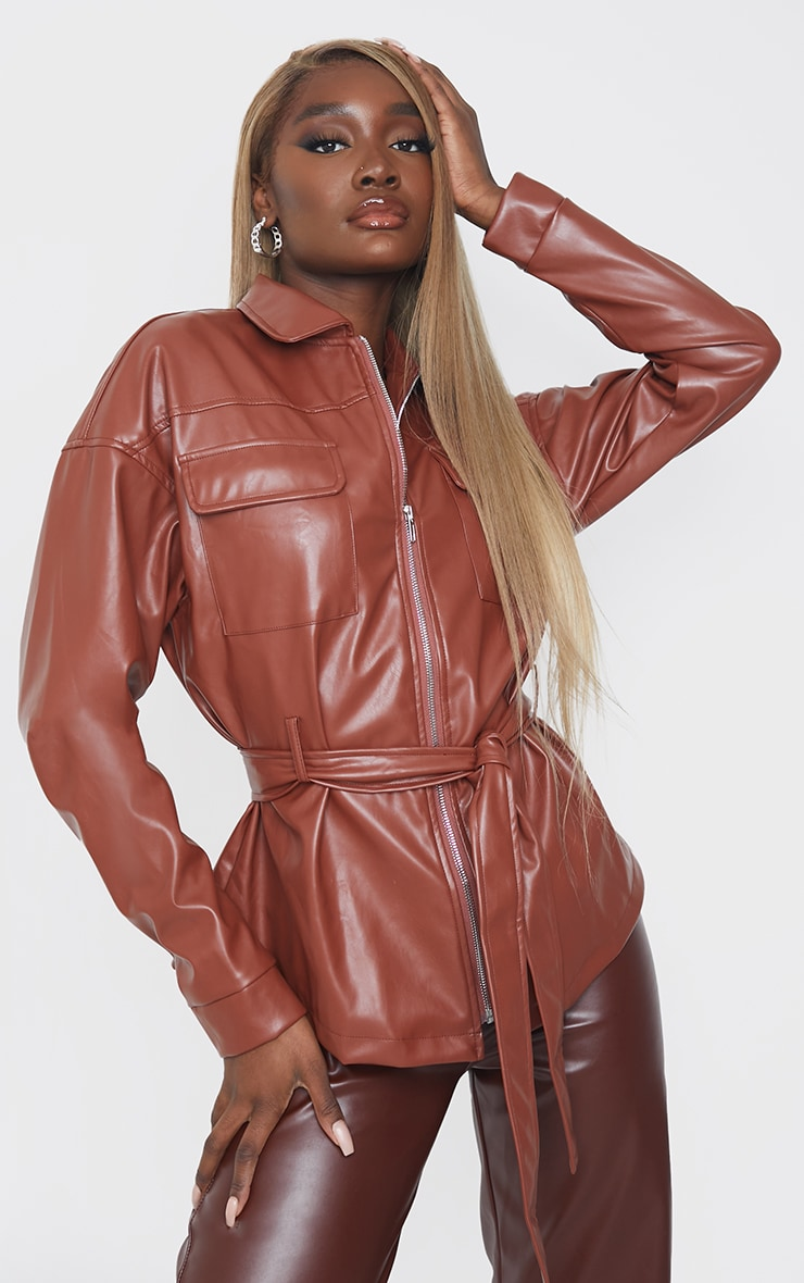 Tall Chocolate Faux Leather Belt Detail Jacket 3