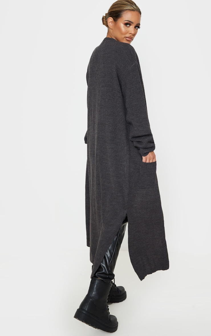 Petite Charcoal Knitted Maxi Cardigan 2