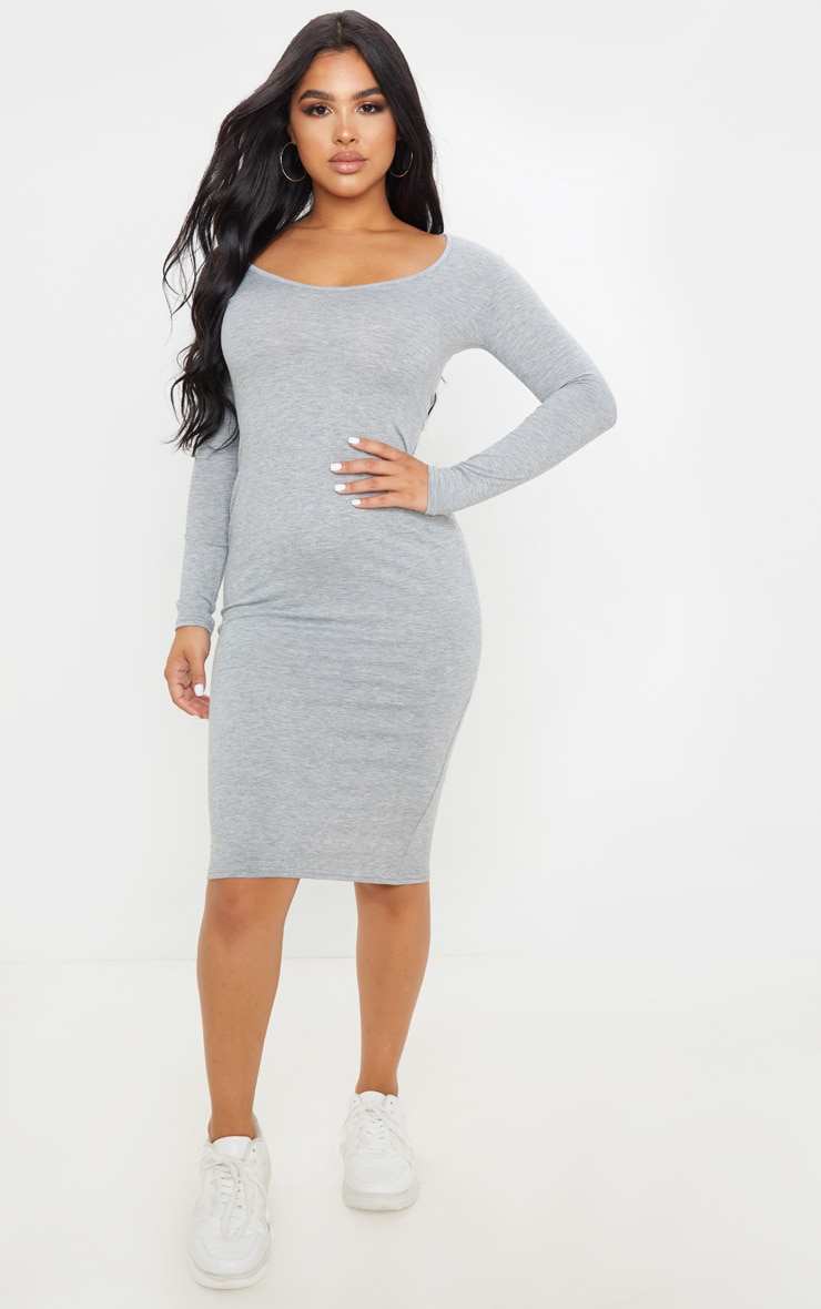 Petite Grey Marl Long Sleeve Jersey Midi Dress 1
