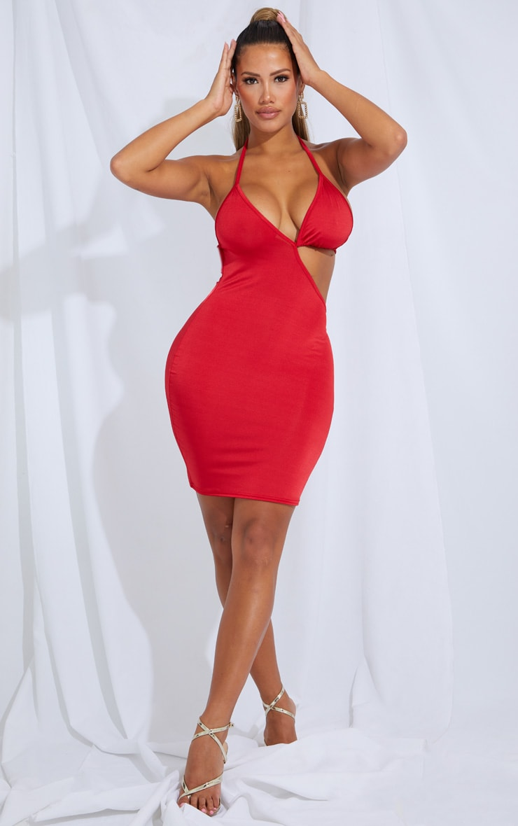Shape Red Slinky Cut Out Tie Detail Bodycon Dress 1