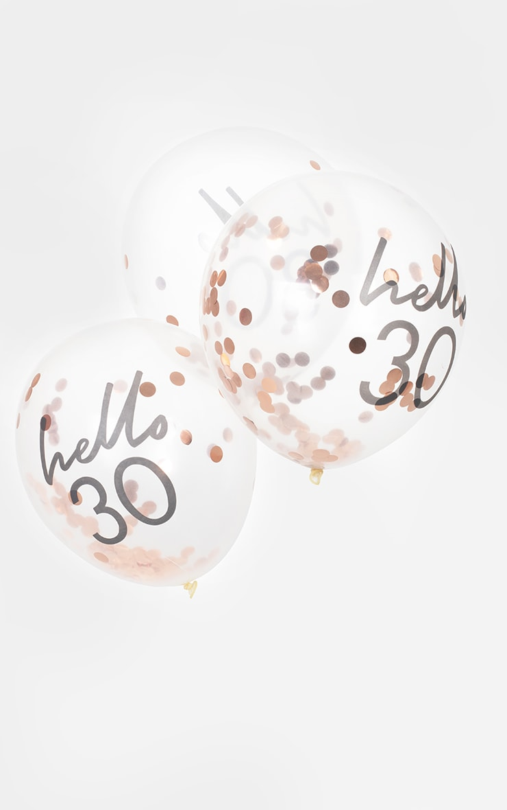 Ginger Ray - Lot de 5 ballons à confettis rose gold et slogan Hello 30 2