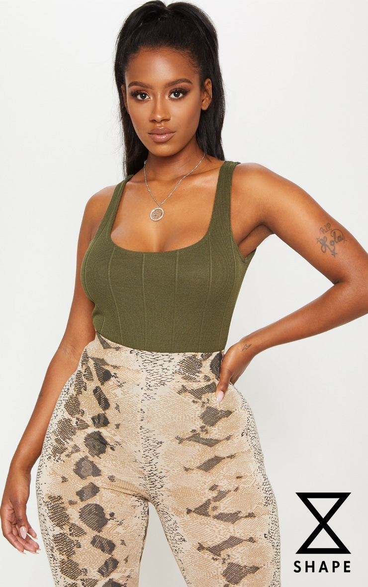 Shape Olive Bandage Scoop Back Bodysuit