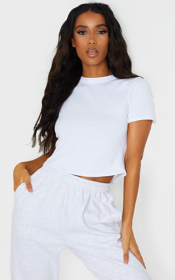 Basic White  Cotton Cropped Fitted T Shirt 1