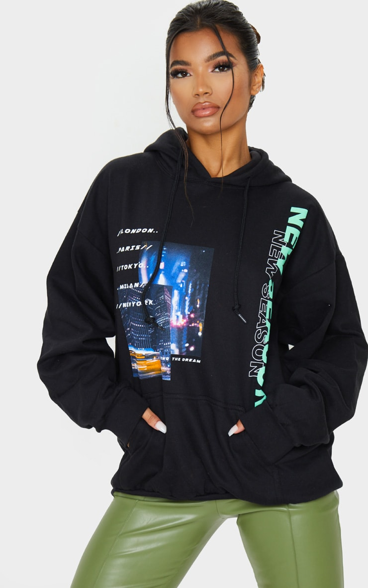 Hoodie oversize noir à imprimé New Season City 1