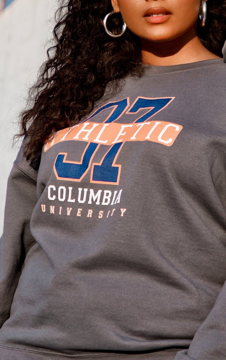 Plus Charcoal 97 Athletic Slogan Sweater 4