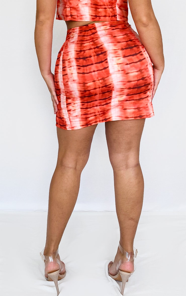 Plus Red Tie Dye Mini Skirt 3