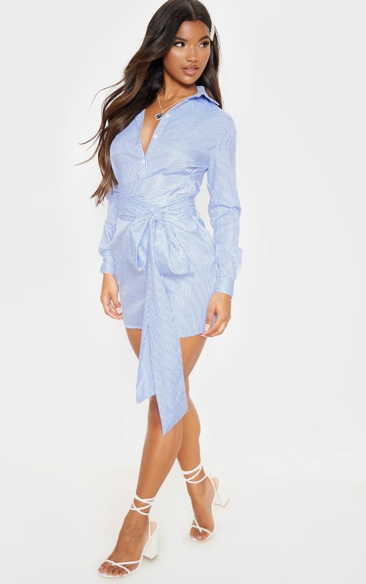 Marsie robe chemise nouée à la taille à fines rayures bleue 4