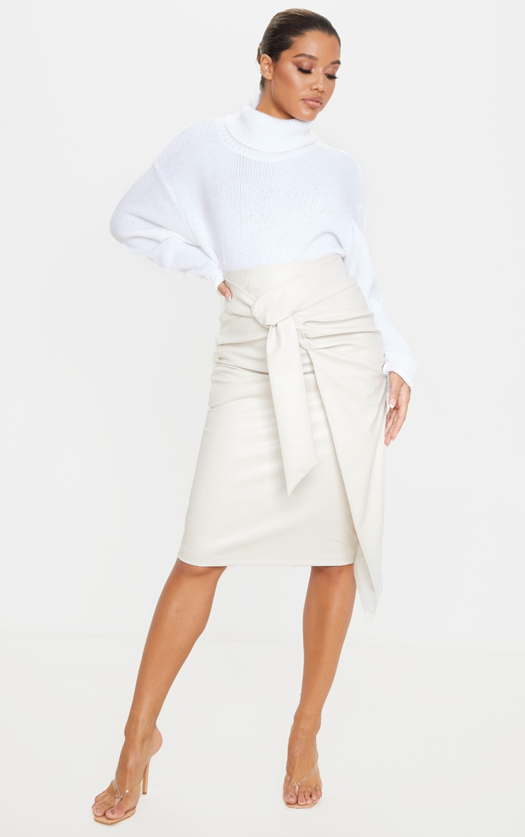 Cream Faux Leather Drape Front Midi Skirt