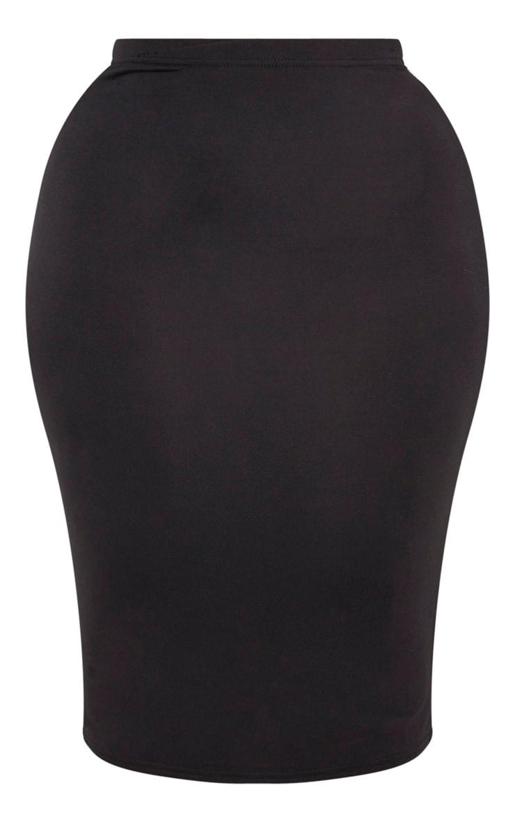 Plus Black Jersey Midi Skirt 3