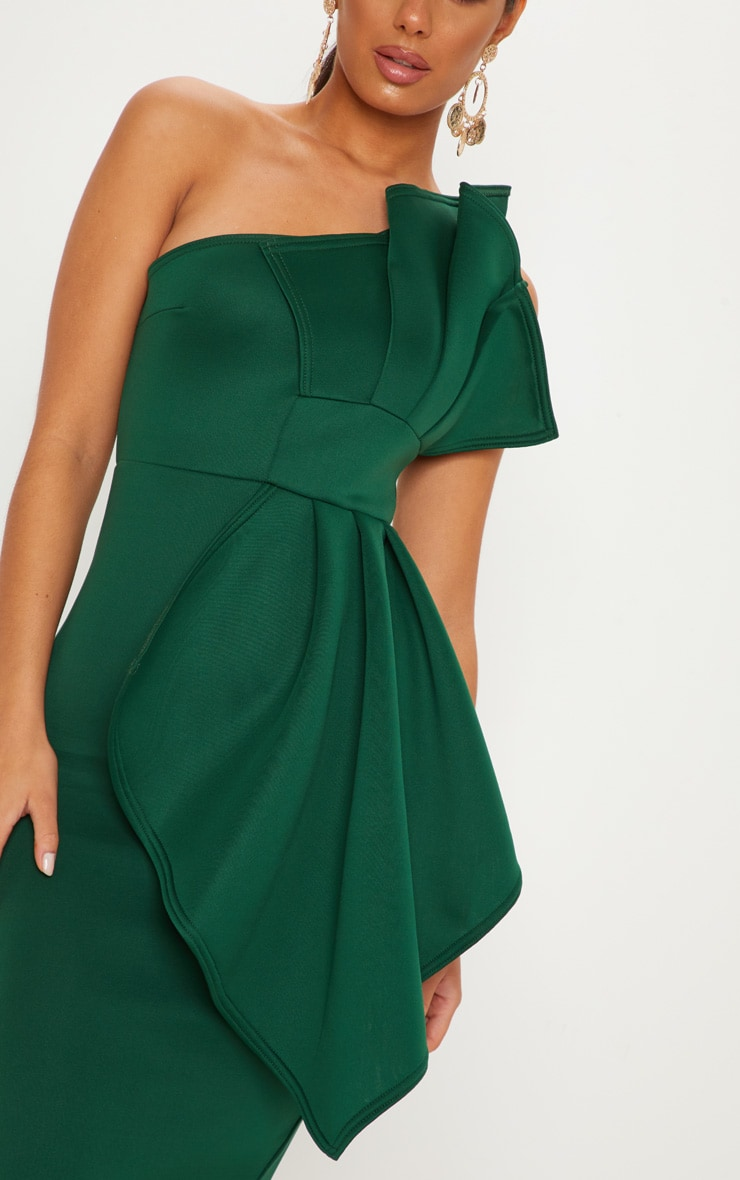 Emerald Green One Shoulder Pleated Detail Midi Dress 5