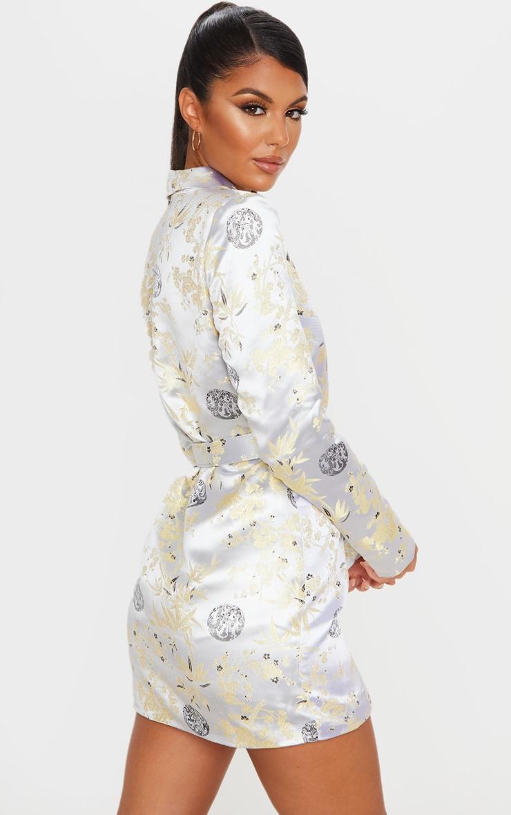 Silver Jacquard Long Sleeve Belt Detail Blazer Dress 2