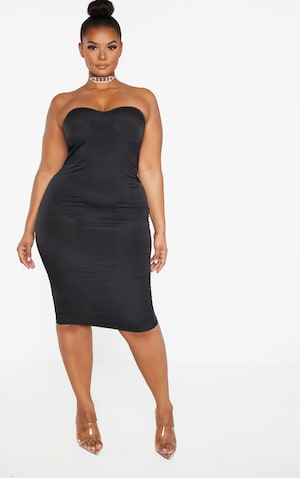 Plus Black Corset Midi Dress