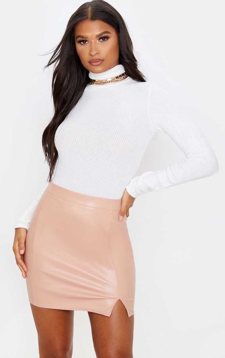 Blush Faux Leather Split Mini Skirt 5