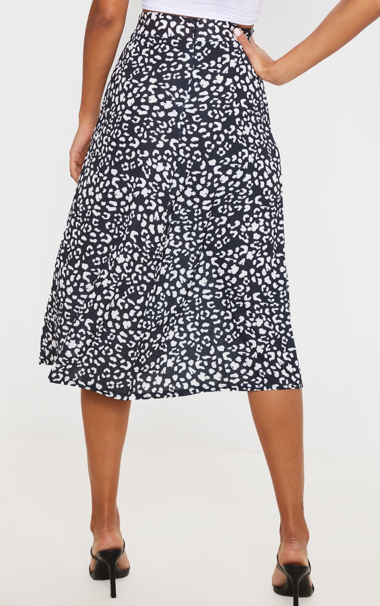 Black Leopard Print Floaty Midi Skirt 3