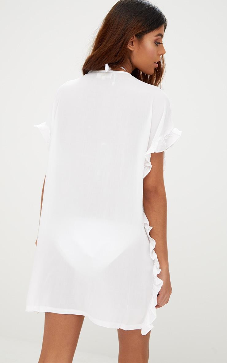 White Tassel Trim Frill Kaftan Dress 2
