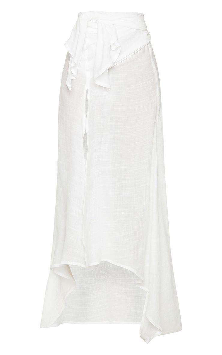 White Linen Look Maxi Beach Sarong 5