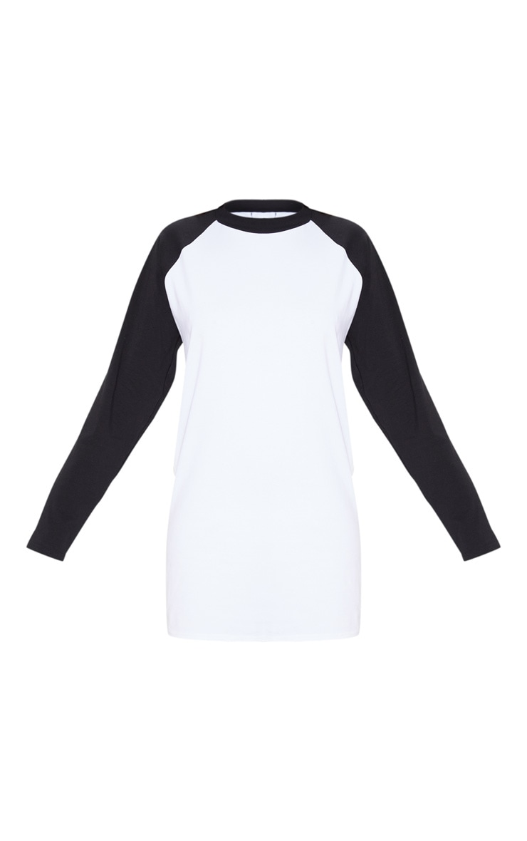 White Contrast Raglan Long Sleeve T Shirt Dress 3