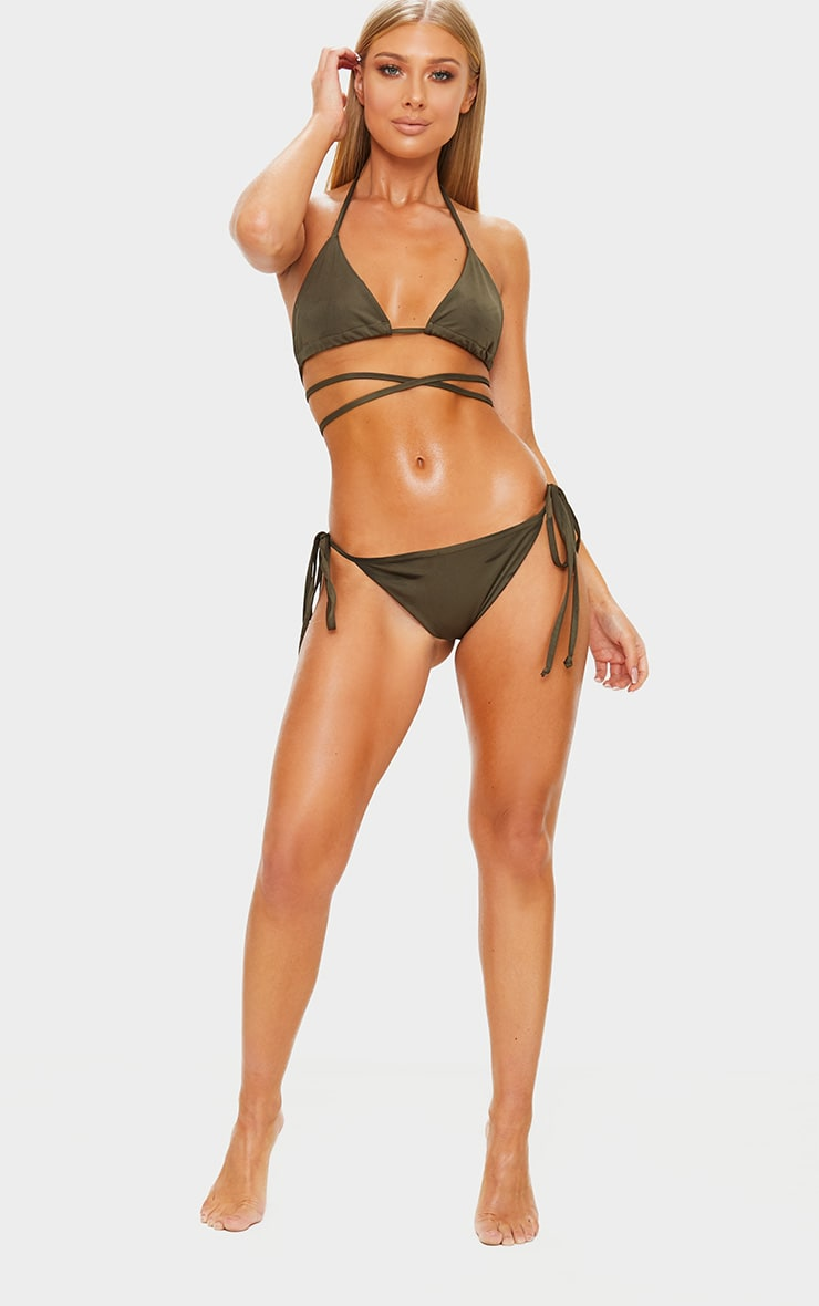 Khaki Mix & Match Adjustable Tie Side Bikini Bottom 5