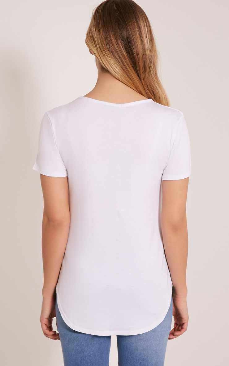 Basic White Curved Hem T Shirt 2