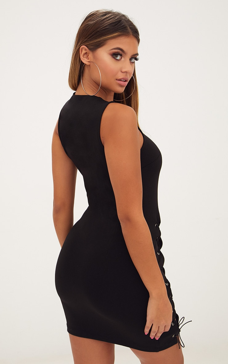 Black Eyelet Lace Up Detail Bodycon Dress 2