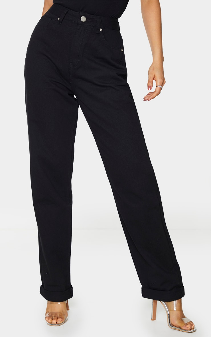 Tall Basic Black Turn Up Mom Jeans 2