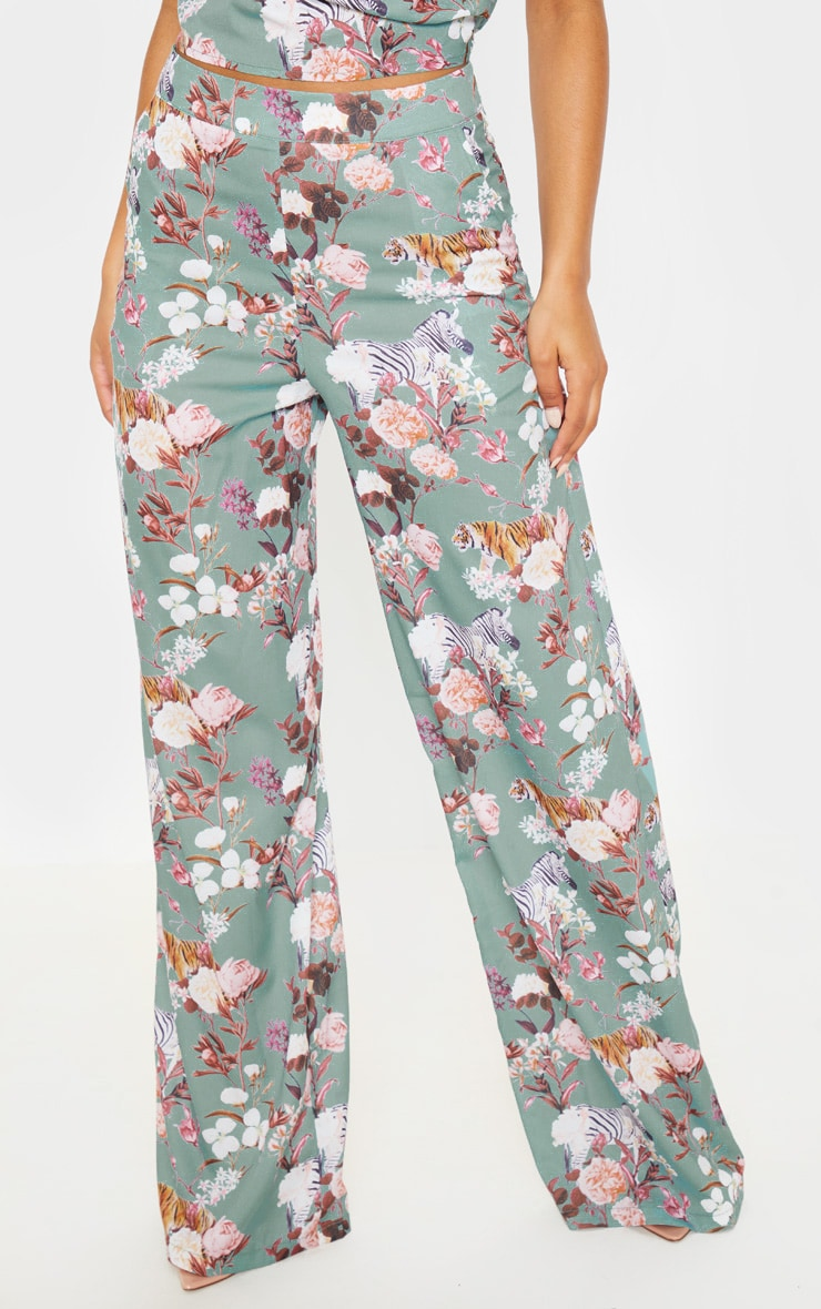 Sage Green Floral Print High Waisted Wide Leg Pants 2