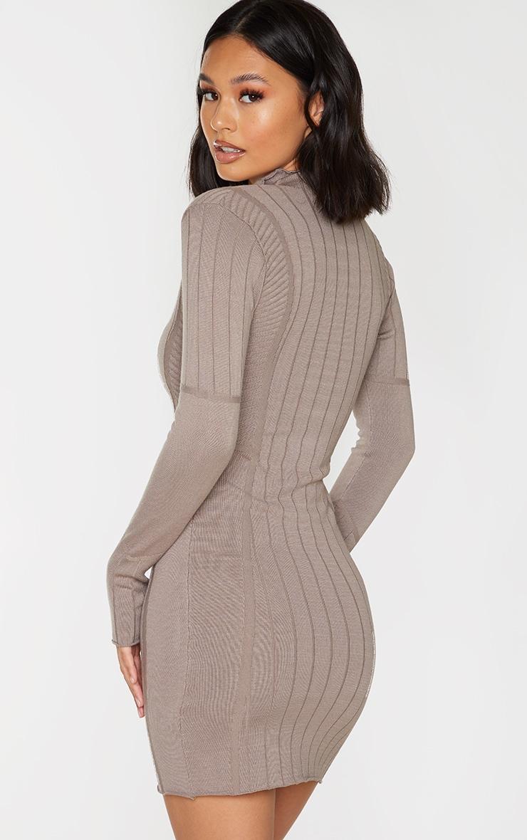 Mocha Ribbed Zipped Kniited Mini Dress 2